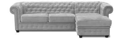Canapé d'angle CHESTERFIELD fixe méridienne à DROITE (non réversible) Velours Tiffany