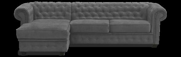 Canapé d\'angle CHESTERFIELD convertible (som\'toile) méridienne à GAUCHE (non réversible) CUIR régénéré