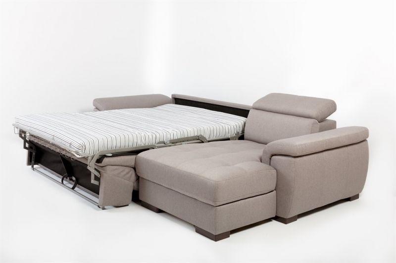 Canapé d'angle Rapid'lit + Chaise Longue RONALD (angle droit) en tissu nubuck épais EVA