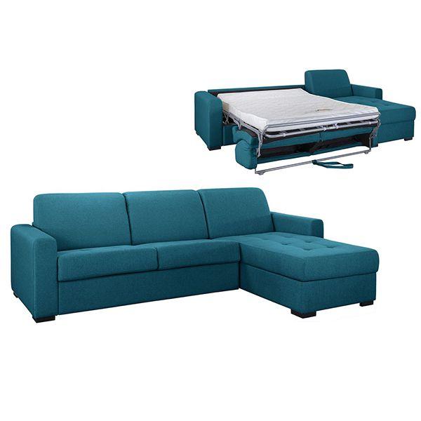ANGELICA, Angle convertible,<br>Revêtement Tissu Artemis ou Luna,<br>Pour couchage quotidien 140cm