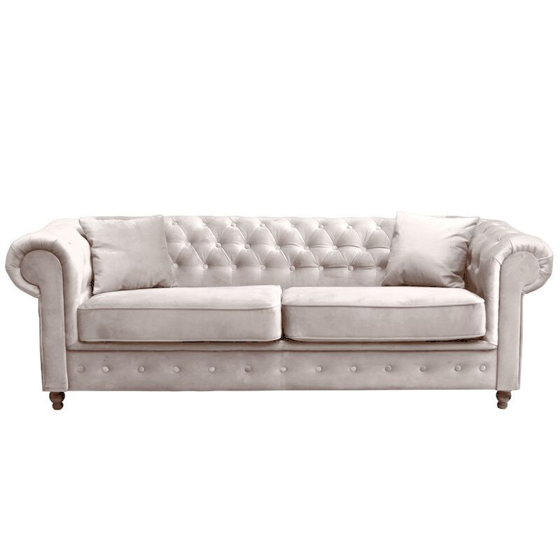 Canapé chesterfield 3 places en tissu velours TIFFANY
