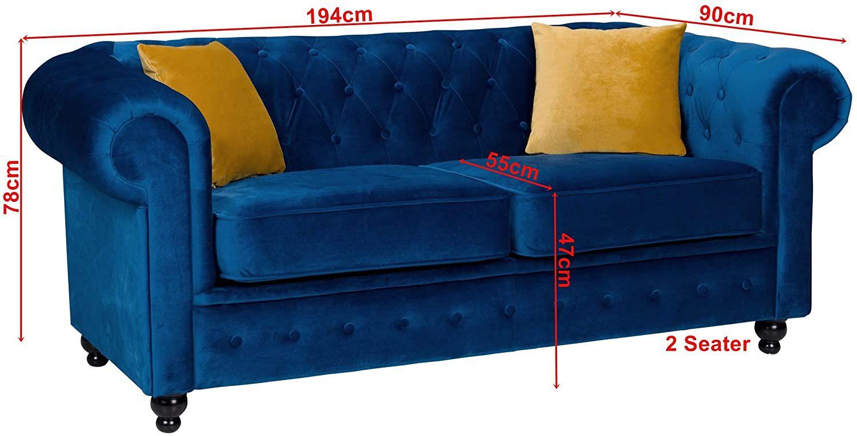 Canapé chesterfield HILTON 2 places en tissu velours TIFFANY