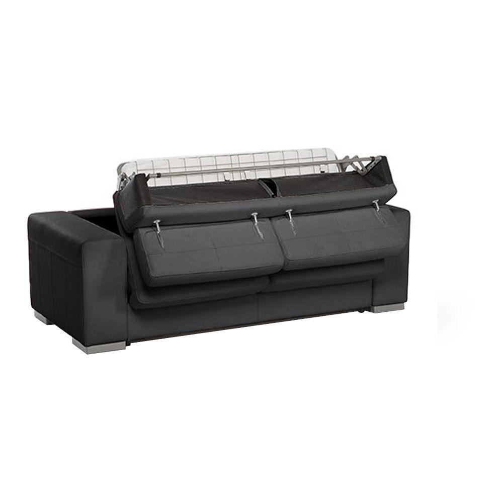 Canapé convertible HARRY usage quotidien système d\'ouverture rapid\'lit couchage 140cm en simili cuir PU