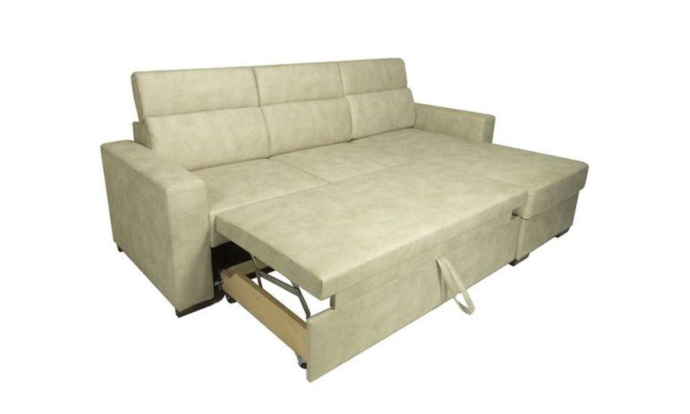 Canapé convertible KEROS système gigogne, méridienne réversible en tissu nubuck EVA
