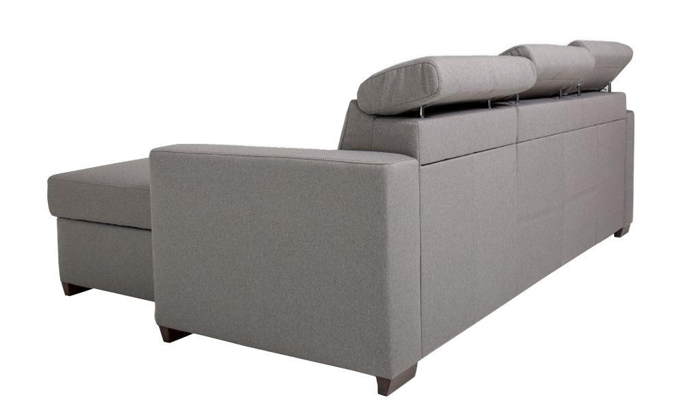 Canapé convertible KEROS système gigogne, méridienne réversible en tissu tweed MARA