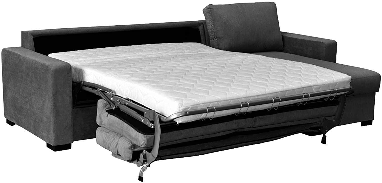 Canapé convertible RAPIDE PARIS avec méridienne réversible en cuir régénéré