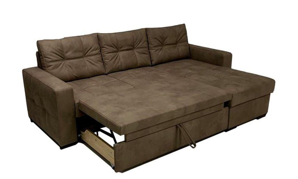 Canapé d\'angle ADONE meridienne reversible convertible système gigogne tissu effet cuir EVA