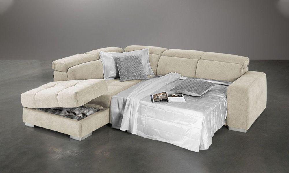 Canapé d\'angle BIG Dylan convertible gigogne méridienne angle gauche (non réversible) tissu effet nubuck EVA
