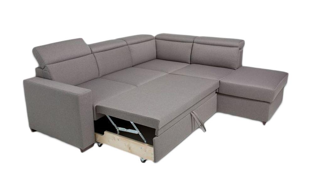 Canapé d\'angle BIG KEROS convertible gigogne méridienne angle droit (non réversible) tissu tweed MARA