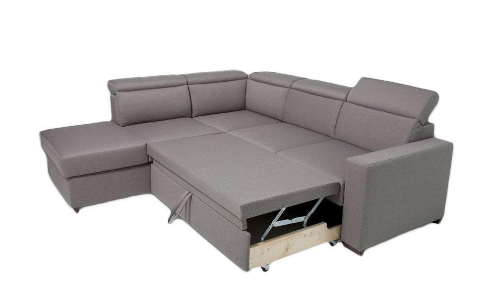 Canapé d\'angle BIG KEROS convertible gigogne méridienne angle gauche (non réversible) tissu tweed MARA