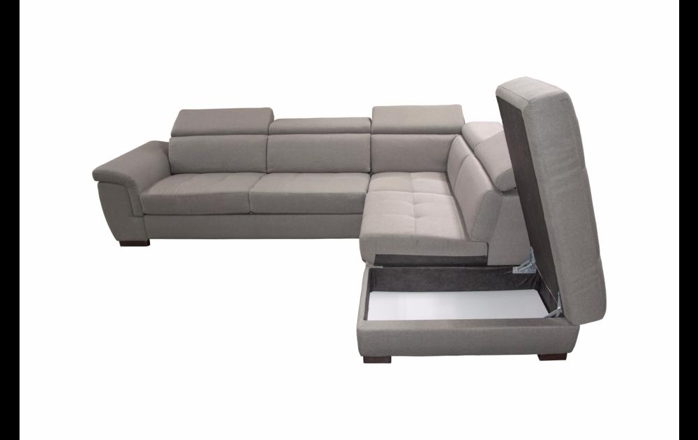 Canapé d\'angle convertible BIG RONALD, système rapid\'lit, méridienne droite (non réversible) en tissu tweed MARA