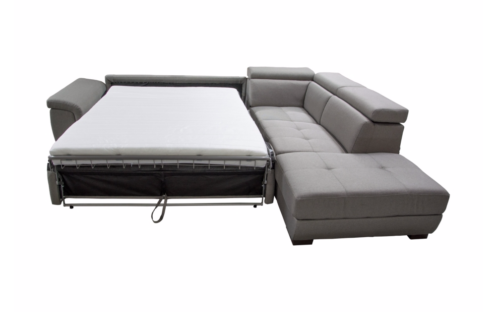 Canapé d\'angle convertible BIG RONALD, système rapid\'lit, méridienne droite (non réversible) en tissu épais nubuck EVA