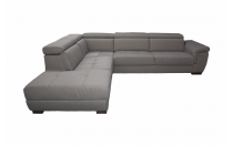 Canapé d\'angle convertible BIG RONALD, système rapid\'lit, méridienne gauche (non réversible) en tissu tweed MARA