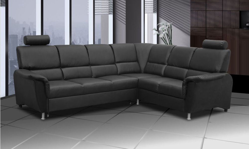 Canapé d\'angle convertible SAN DIEGO système gigogne, angle droit (non réversible) en simili cuir.