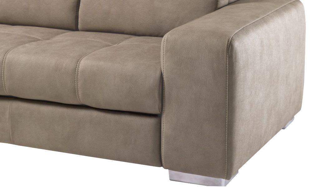 Canapé d\'angle DYLAN convertible système gigogne angle gauche (non réversible) tissu imitation cuir EVA