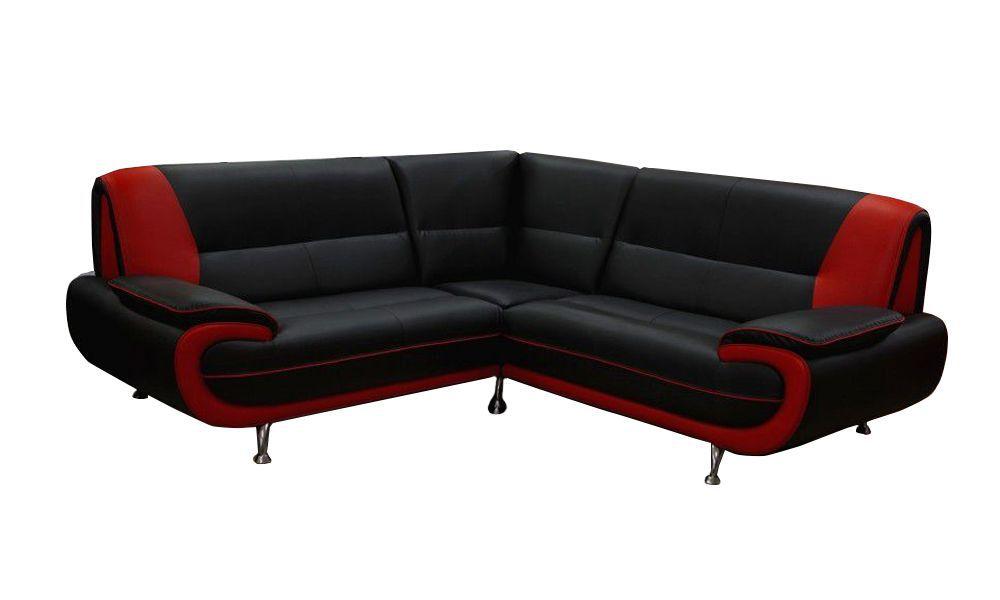 Canapé d\'angle PALERMO en simili cuir bicolore