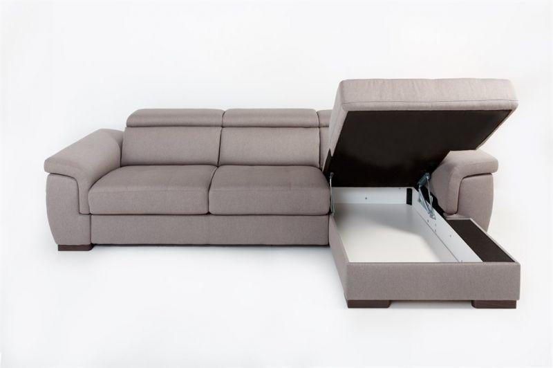 Canapé d\'angle Rapid\'lit + Chaise Longue RONALD (angle droit) en tissu nubuck épais EVA