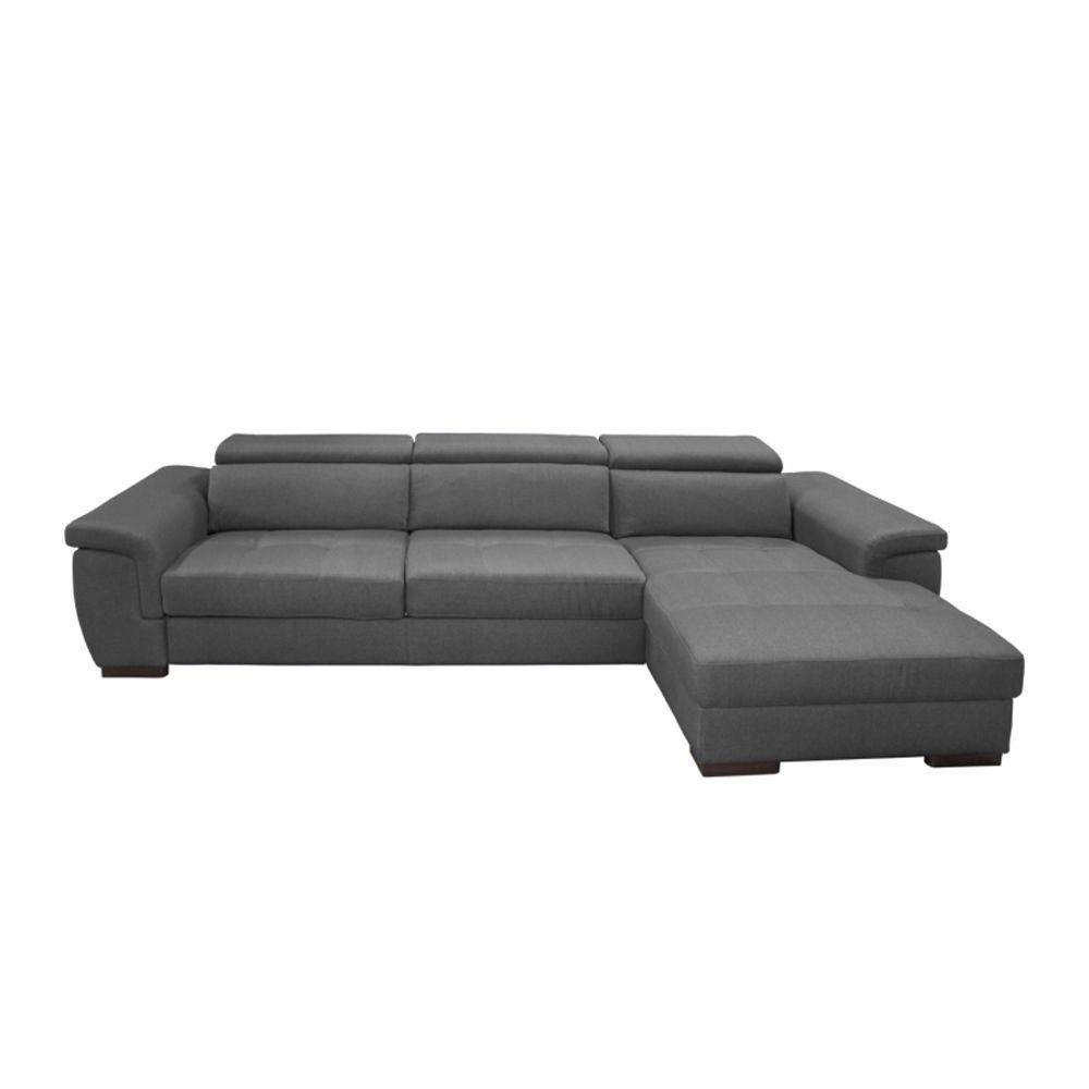 Canapé d\'angle Rapid\'lit + Chaise Longue RONALD (angle droit) en tissu tweed MARA