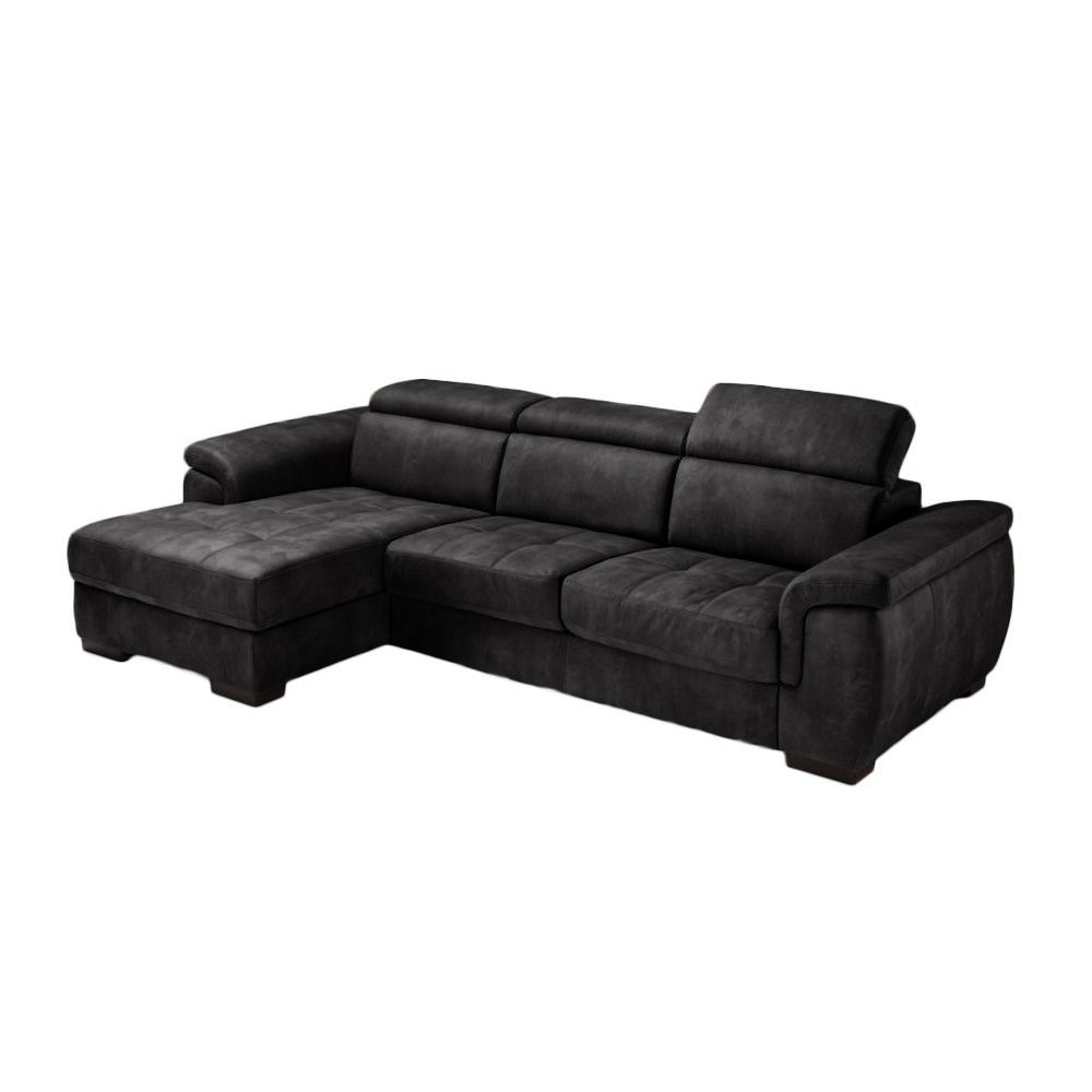 Canapé d\'angle Rapid\'lit + Chaise Longue RONALD (angle gauche) en tissu nubuck épais EVA