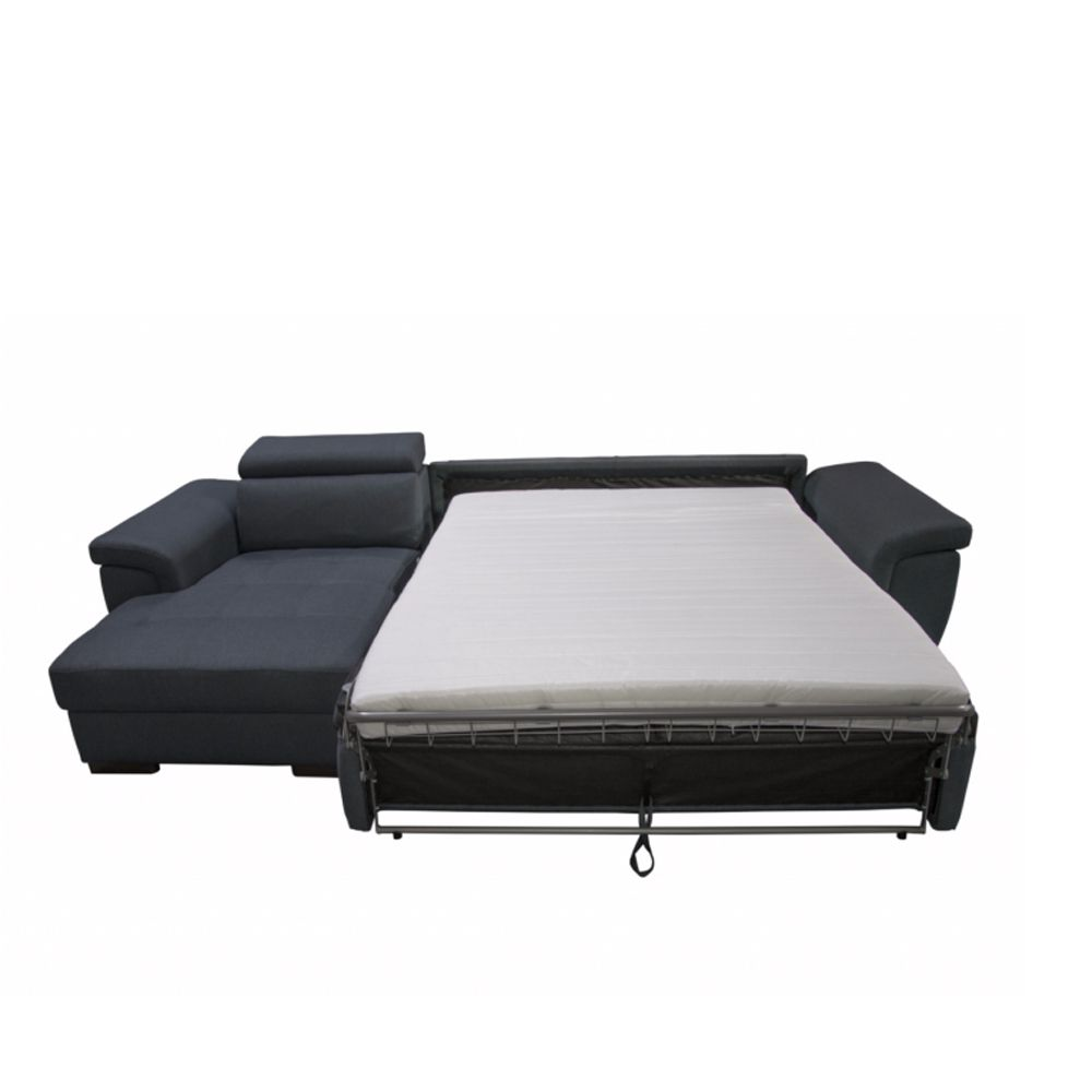 Canapé d\'angle Rapid\'lit + Chaise Longue RONALD (angle gauche) en tissu tweed MARA