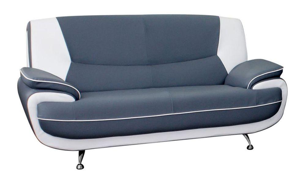 Canapé fixe 2 places PALERMO en cuir éco (dit synderme) bicolore