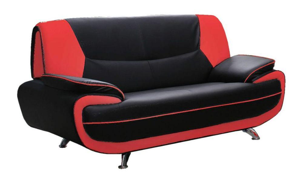 Canapé fixe 2 places PALERMO en simili cuir bicolore