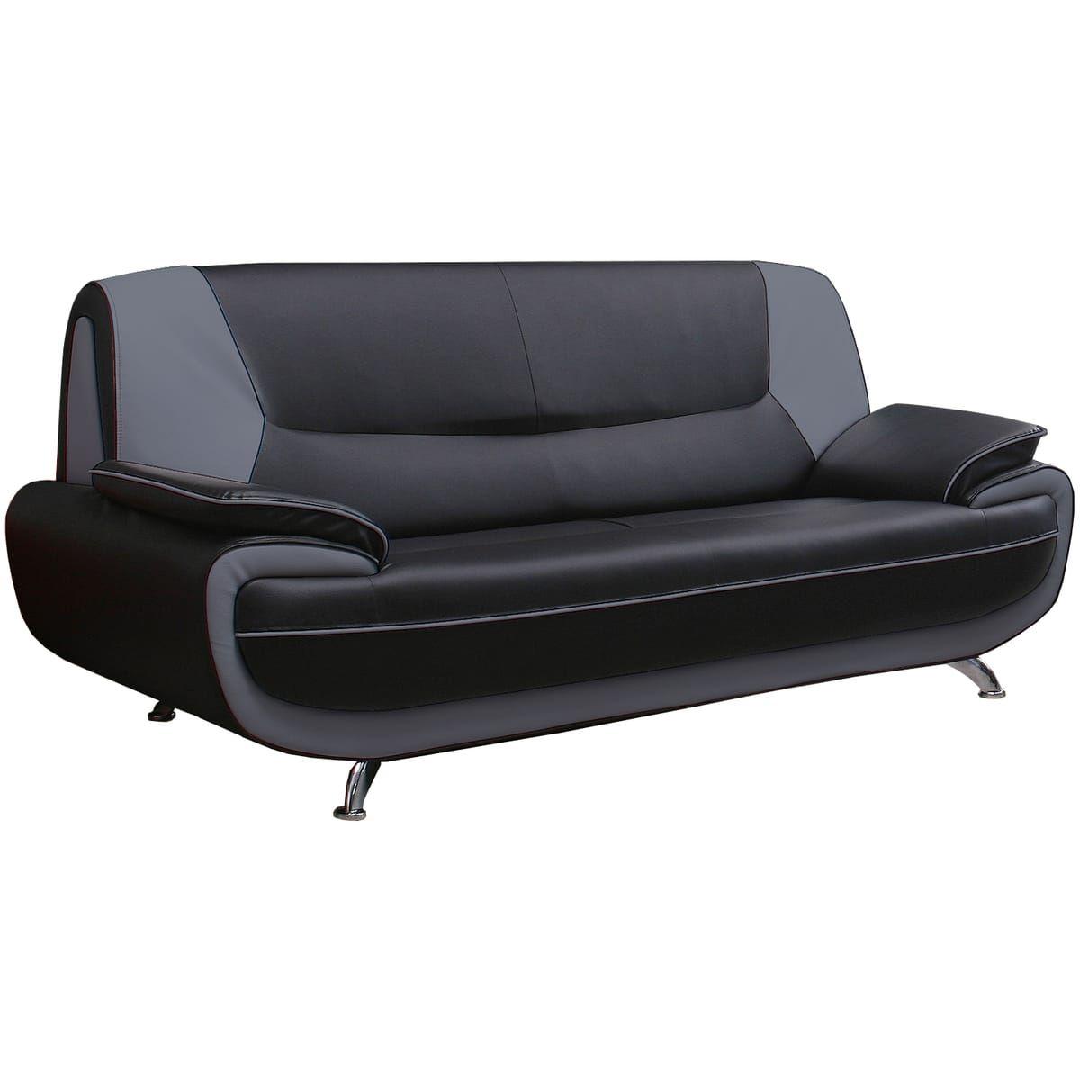 Canapé fixe 3 places PALERMO en cuir éco (dit synderme) bicolore