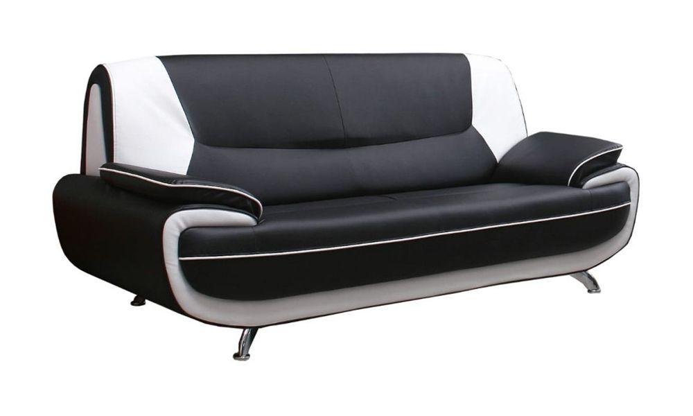 Canapé fixe 3 places PALERMO en simili cuir bicolore