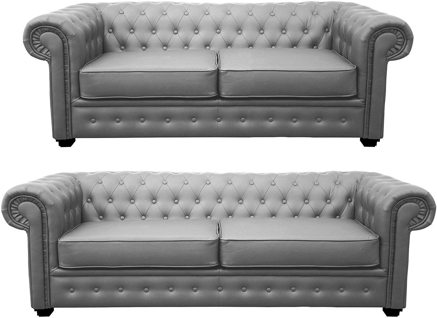 Canapés 3 + 2 Places chesterfield  velours TIFFANY FIXE