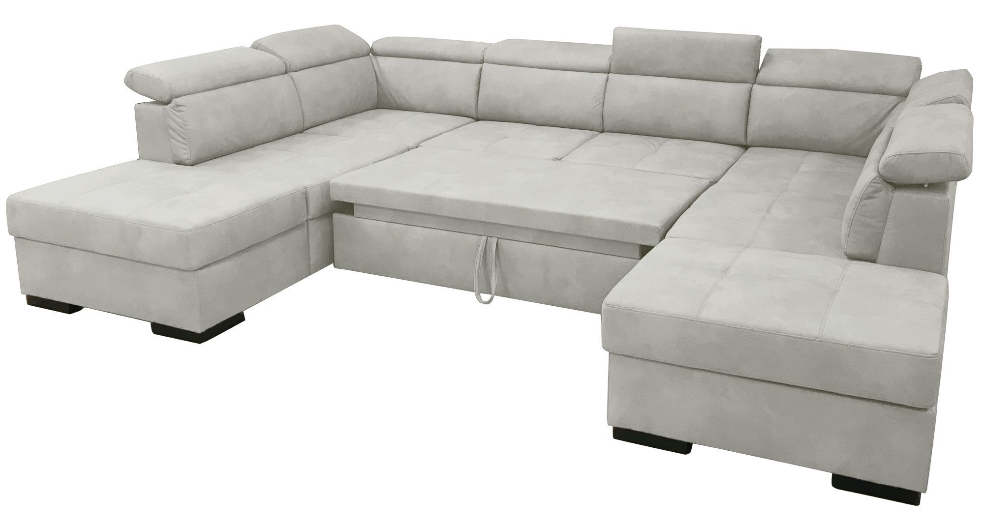 DYLAN,  canapé d\'angle en U, convertible Gigogne, 2 angles 2 poufs coffre, Revêtement PU Cayenne ou Torres