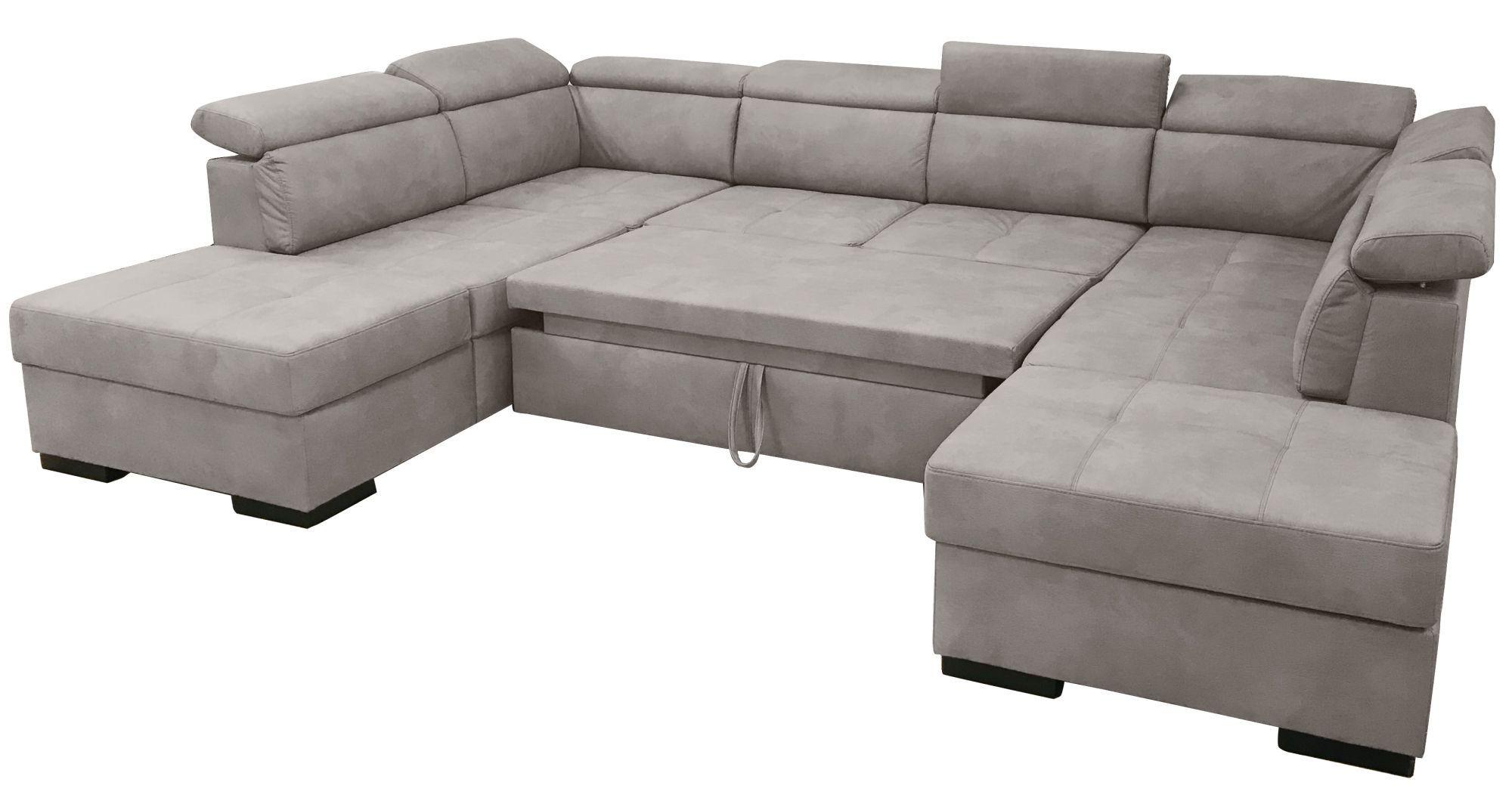 DYLAN,  canapé d\'angle en U, convertible Gigogne, 2 angles 2 poufs coffre, Revêtement Tissu effet cuir Tobago ou Largo