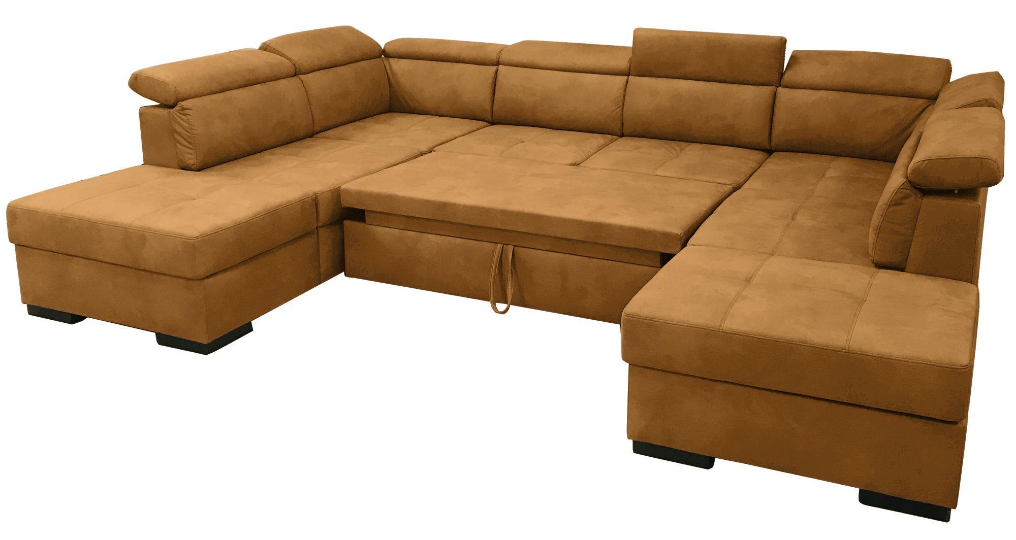 DYLAN,  canapé d\'angle en U, convertible Gigogne, 2 angles 2 poufs coffre, Revêtement Velours Tiffany