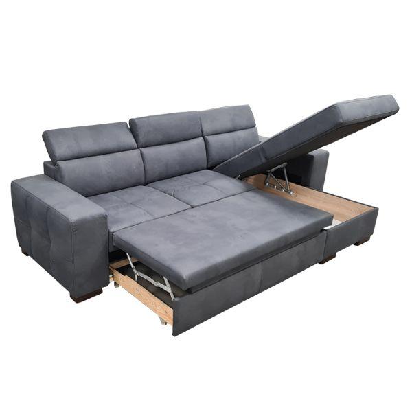 DYLAN, Canapé d\'angle convertible Gigogne avec méridienne coffre, revêtement effet Cuir Tobago ou Largo