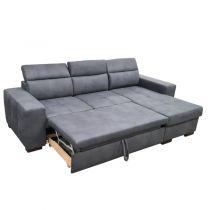 DYLAN, Canapé d\'angle convertible Gigogne avec méridienne coffre, revêtement Tissu Tiffany