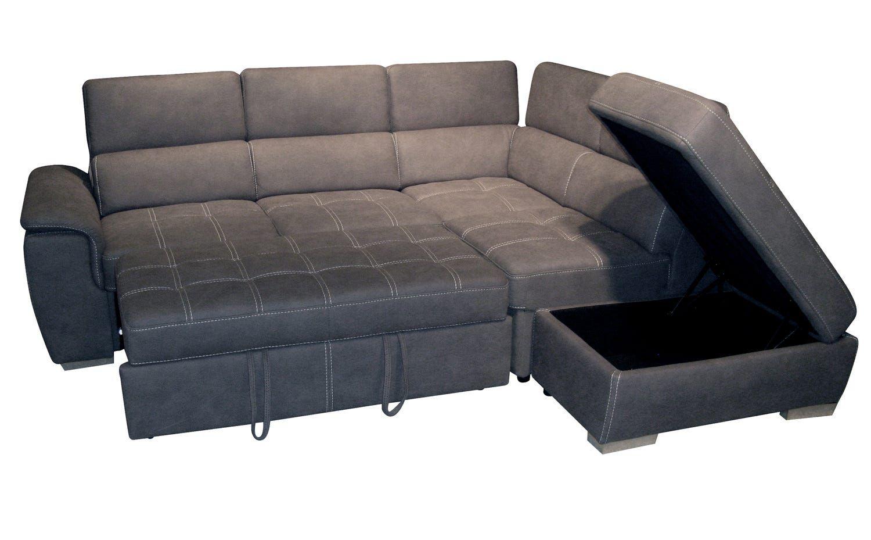 Grand Angle droite convertible gigogne + pouf coffre « CAPRI II 2ap» Tissu double polyester NABBUCO ELEPHANT