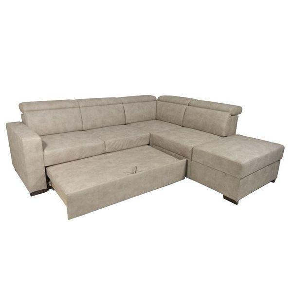 KEROS, Grand canapé d\'angle convertible Gigogne, revêtement Tissu Artemis ou Luna