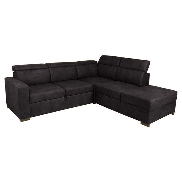 KEROS, Grand canapé d\'angle convertible Gigogne, revêtement Tissu effet Cuir Tobago ou Largo