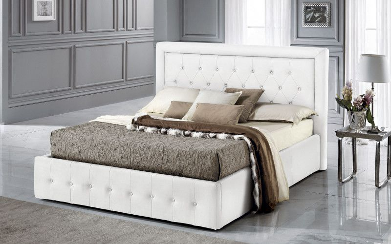 Lit coffre MINERVA existe en plusieurs tailles de couchage : 120/140x190cm 160/180x200cm en simili cuir PU