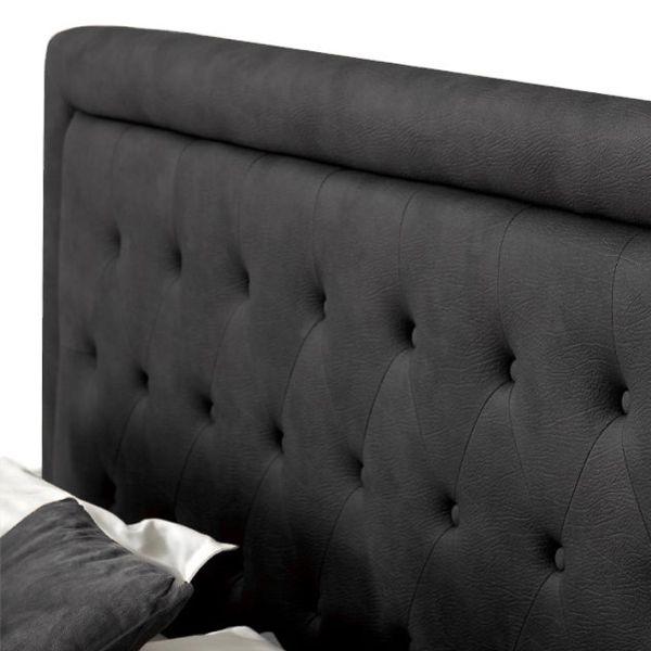 Lit coffre MINERVA existe en plusieurs tailles de couchage : 120/140x190cm 160/180x200cm en tissu gris foncé