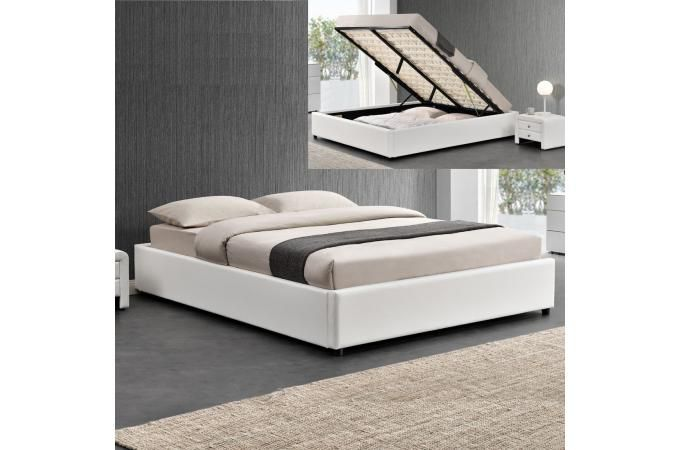 Lit coffre sans tête de lit existe en plusieurs tailles de couchage : 90/12/140x190cm 160/180x200cm en simili cuir PU