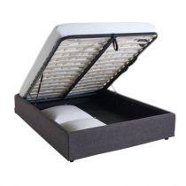 Lit coffre sans tête de lit existe en plusieurs tailles de couchage : 90/12/140x190cm 160/180x200cm en tissu gris foncé