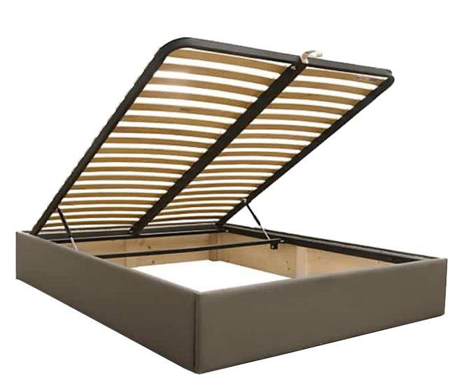 Lit coffre sans tête de lit existe en plusieurs tailles de couchage : 90/12/140x190cm 160/180x200cm en tissu nubuck taupe