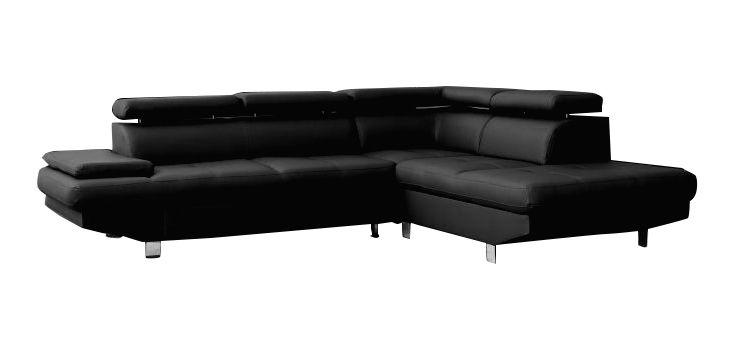 NEWTON, Canapé d'angle fixe, avec repose-têtes en simili noir