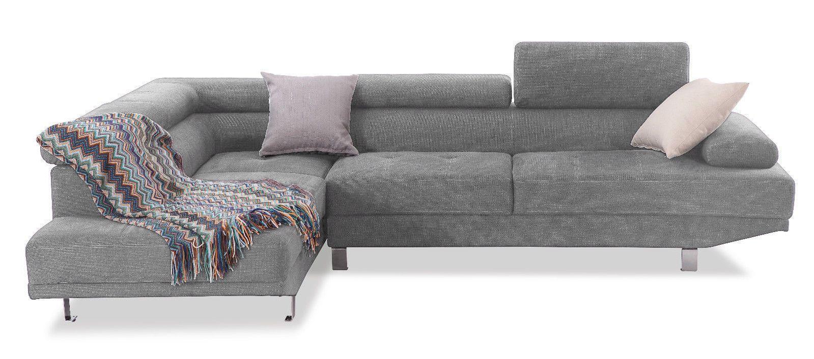 NEWTON, Canapé d'angle fixe, avec repose-têtes en tissus tweed gris