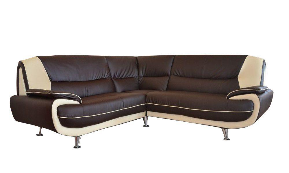 PALERMO, Canapé d\'angle en simili cuir bicolore