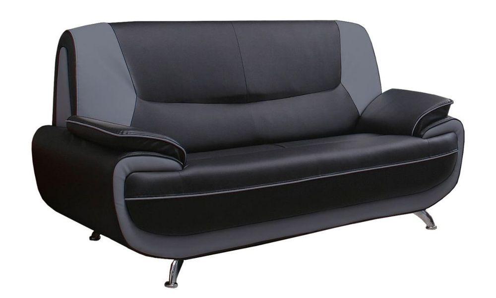 PALERMO, Canapé fixe 2 places en simili cuir bicolore