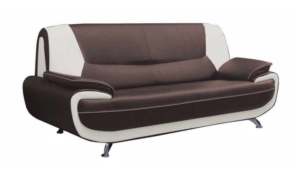 PALERMO, Canapé fixe 3 places en simili cuir bicolore