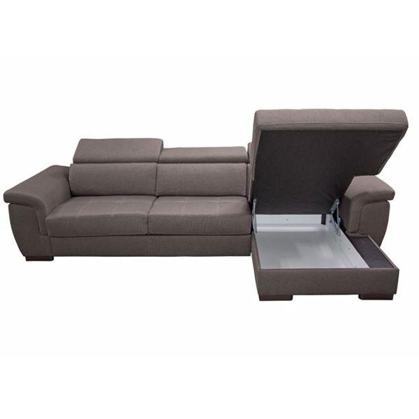 RONALD, Canapé convertible Rapido 140cm avec chaise longue. Revêtement Velours Tiffany