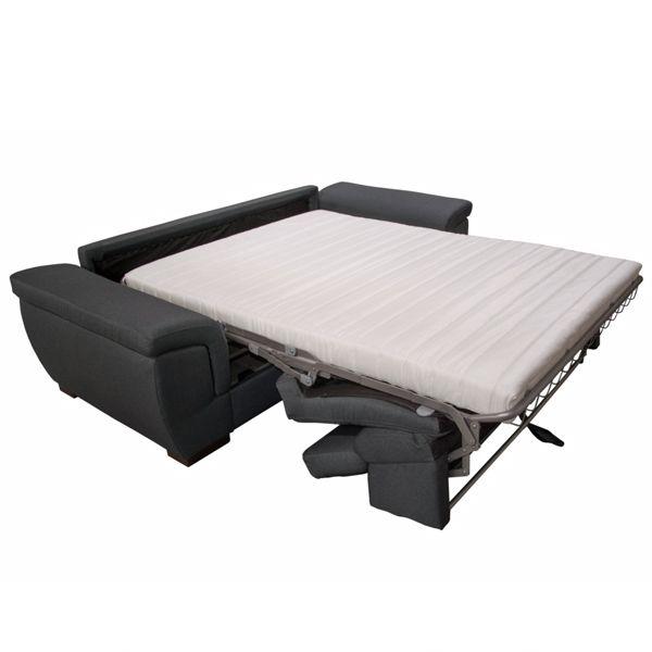 RONALD, Canapé convertible Rapido pour couchage quotidien. Revêtement Tissu effet Cuir Tobago ou Largo