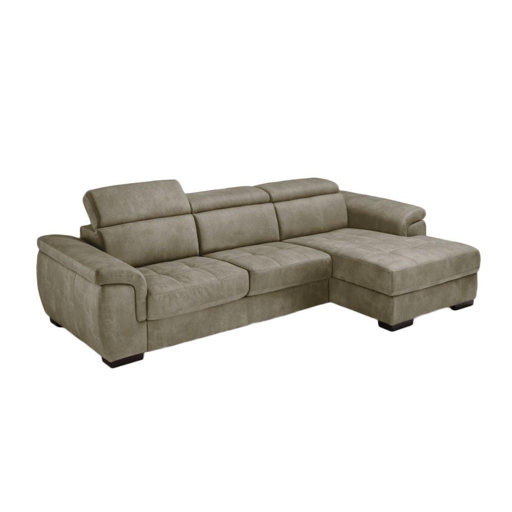 RONALD, Canapé d\'angle Rapid\'lit + Chaise Longue (angle droit) en tissu nubuck épais EVA
